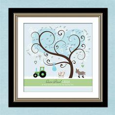 DIY Thumbprint Tree Guest Book - Personalized Farm Theme Baby Shower - Nursery - 12 x 12 Family Tree - Digital File