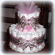 Animal Print Diaper Cake Baby Girl Baby Shower Giraffe Pink & Brown Decorations Centerpiece Favors Cheeta