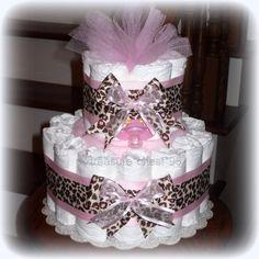 Animal Print Diaper Cake Baby Girl Baby Shower Giraffe Pink & Brown Decorations Centerpiece Favors Cheeta