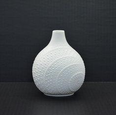 Vi n t a g e White AK Kaiser West Germany Bisque Porcelain Vase M. Frey Op Art. $30.00, via Etsy.
