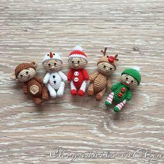 Купить Новогодние пупсы - Вязание крючком, вязание на заказ, вязаная игрушка, вязаный пупс