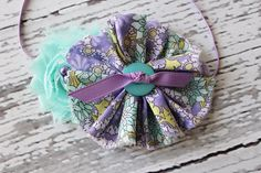 Lavender and aqua mint chiffon and ruffle headband. Birdie Baby Boutique.