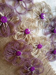 Rustic Purple and Natural Burlap Sparkle Flower Set por resadavid