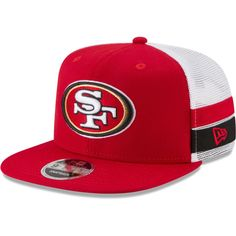 729acc99542 Men s San Francisco 49ers New Era Scarlet White Striped Side Lineup 9FIFTY  Adjustable Snapback Hat