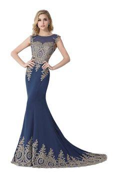 222d383272d Babyonline Long Evening Dress Floor-Length Lace Cap Sleeves Party Prom Dress   Amazon.