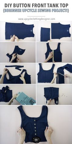 Try this DIY button front tank top from your old clothes. Making a non-functional button placket is the key to this upcycle project. This step by step tutorial teaches you how to hand sew buttons correctly and sew knits easily. Fashion Sewing, Diy Fashion, Ideias Fashion, Fashion Outfits, Diy Outfits, Thrift Store Diy Clothes, Diy Clothes Refashion, Diy Clothes Tutorial, Thrift Stores
