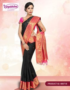 #ethnicwear #fashion #silksarees #onlineshopping  Black color silk saree comes with zari buttas has woven comes with contrast pink border with zari mangoes and floral creepers design woven.