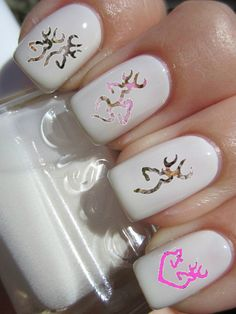 This article features different nail designs that really look trendy and that's why i think that you should try out these nail decals and designs. The good thing about nail art designs is that you Love Nails, How To Do Nails, Pretty Nails, Fun Nails, Style Nails, Deer Nails, Camo Nails, Feather Nails, Uñas Fashion