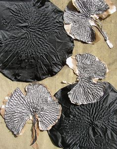 Hot Textiles - heat set fabric ginkgo leaves - texture & pattern using fabric manipulation; creative textile techniques. Follow link to blog.