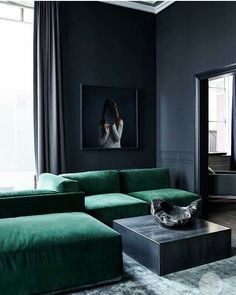 VELVET DREAMS: My grandmother's home had two dark green velvet sofas and I always dreamed of having a green velvet sofa for my own home when I grew up.