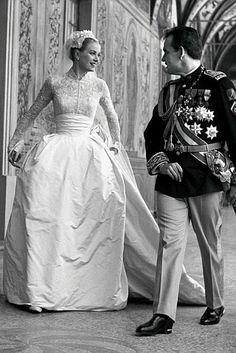 Grace Kelly at her wedding to Prince Rainier III of Monaco