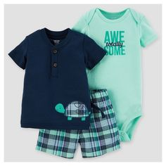 Baby Boys' Plaid Turtle Short Set Navy - Just One You™ Made by Carter's® : Target