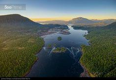 Prince Rupert Aerial-Butze Rapids Sunset-November - Large River - Hills