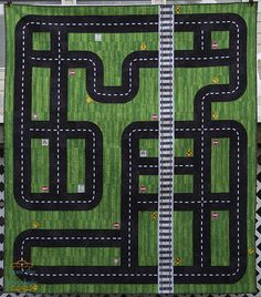 Quilt idea for a boy and his cars - This fun Road quilt is too cute.