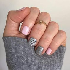 Jamberry Daydream Glossy, Gray and Silver Stripe, Diamond Dust Sparkle http://miss_aliss.jamberrynails.net
