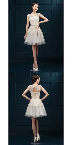 Short/Mini Tulle Bridesmaid Dress - Champagne Sheath/Column Jewel #shortbridesmaiddress Champagne Bridesmaid Dresses, Tulle Bridesmaid Dress, Short Bridesmaid Dresses, Dresses Uk, Buy Dress, Ballet Skirt, Jewels, Skirts, Mini