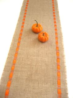 Natural Burlap Table Runner Satin Ribbon - different color for the ribbon, but super cute!