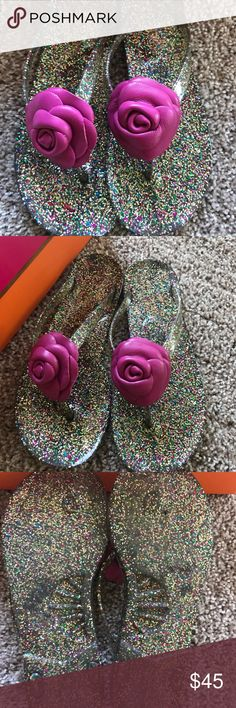 Kate Spade jelly sandals Multi-glitter Kate Spade jelly sandals. Only wore twice because they were a bit small. Like new condition and comes with box! kate spade Shoes Sandals