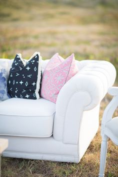 Juliet couch and Farrah chair as featured in our fresh, bright, modern outdoor lounge | Featured on paperandlace.com | Vintage Furniture Hire | www.borrowandbeau.co.nz | Styling: Borrow and Beau | Photography: PoppyMoss Photography | Cushions: Collected by LeeAnn Yare