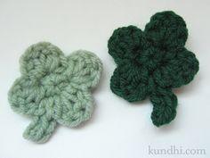 tiny four-leaf clover pattern : crochet : st. patrick's day : kundhi.com