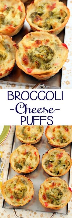 Baked Broccoli Cheese Puffs #sidedishes