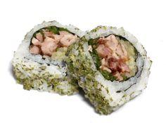 Duck Roll Uramaki - Shredded crispy duck, sliced cucumber & hand-chopped spring onion with hoisin sauce & coated in finely shredded seaweed www.melove.com #melovesushi #melove #sushi #healthyfood #tastyfood #london #food #foodporn #bestsushi