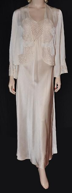 1930s Silk Nightgown & Bed Jacket Set