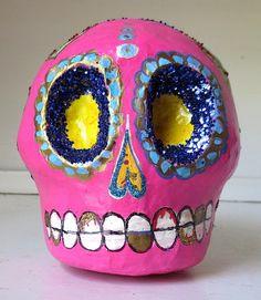 Cráneo Rosado Pink Paper Mache Skull with by VerdeRojaStudios, $45.00