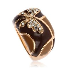 'Brown Butterfly Enamel GP Austrian Crystal Ring SZ8' is going up for auction at  6am Sat, May 4 with a starting bid of $6.