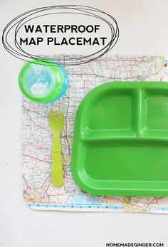 Does your little one make messes during meal time? Use Dishwasher Safe Mod Podge to make this unique DIY placemat from a map!