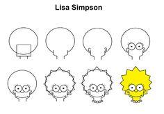 Drawing For Beginners Lisa Simpson step-by-step tutorial. Cute Easy Drawings, Art Drawings For Kids, Art Drawings Sketches, Disney Drawings, Doodle Art For Beginners, Drawing Tutorials For Beginners, Art Tutorials, Simpsons Drawings, Cartoon Drawings