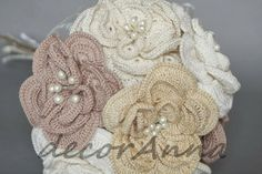 crochet+bridal+bouquet | Each crochet flower is stiffened and formable.