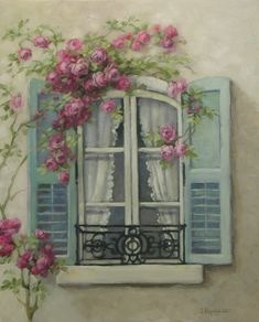 Chateau De Fleurs: My Love of French Windows Inspired a New Romantic Rose Painting!