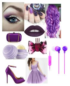"""purple collage"" by diamondsanders885 ❤ liked on Polyvore featuring Viktor & Rolf, Eos, Gucci, Sony and Badgley Mischka"