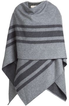 The blanket cape is the hottest cover-up of the season, and we're coveting this wool-cashmere style from Burberry. The neutral grey hue is made plush with a charcoal contrast, while the nonchalant draped finish will add cool to any outfit #Stylebop