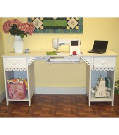Homespun Olivia Sewing Cabinet-White--make one like this w/ 2 old bedside tables?