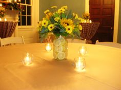 Mason Jars with sunflowers & lemons Puddin Pop, Special Day, Special Occasion, Graduation Flowers, Party Central, Centerpieces, Table Decorations, Matron Of Honour, Planner Ideas