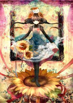 A anime sunflower girl. The art style reminds me of Puella Magi Madoka Magica.