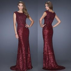 Maroon Long Dress Burgundy Sequin Formal Wedding Dresses