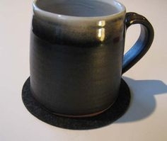 Eight Charcoal Gray Drink Coasters Gray Felt Drink by Jackwood, $32.00