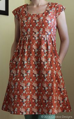 Washi Dress with cap sleeves made using Garden Rose in Coral from the Fort Firefly Collection by Teagan White for Birch Fabrics. Blogged here http://goobadesigns.blogspot.com/2014/01/i-heart-my-washi-washi-pattern-review.html