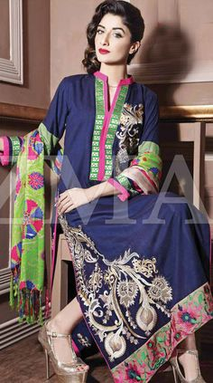 Navy Blue Linen Salwar Kameez Dress $99.99 DESIGNER WINTER DRESSES Pakistani Indian Dresses Online, Men Women Clothing and Shoes | PakRobe.com