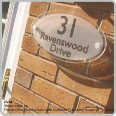 Oval Contemporary House Plaques & Modern Glass Acrylic Address Nameplate signs By De-signage