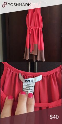 Bar III coral and tan dress Bar III coral and tan dress  with a key hole cut out in the front.  Dress is semi high/low                                         Size small perfect for a summer wedding or shower! Bar III Dresses High Low