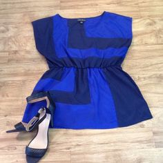 Forever 21 Plus Top Royal blue and black silk-like top Forever 21 Tops