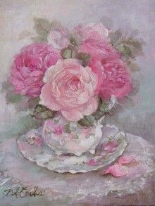 Debi Coules Teacup and Roses Giclee Print