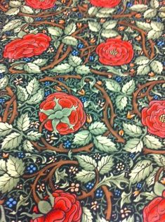 """From """"Loom"""" in Pittsburgh Liberty of London - Arts & Crafts - Morris - Silvers - Voysey Antique Wallpaper, Rose Wallpaper, Craftsman Wallpaper, Textile Patterns, Floral Patterns, William Morris Art, Rose Vines, Liberty Of London Fabric, Arts And Crafts Furniture"""