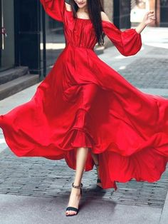Shop Red Cold Shoulder Long Sleeve Maxi Dress from choies.com .Free shipping Worldwide.$71.99