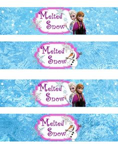 Instant Download!! Frozen Water Bottle Wrappers JPEG 300 dpi Printable Party Elsa Anna Olof, Disney movie winter snowflakes on Etsy, $4.00