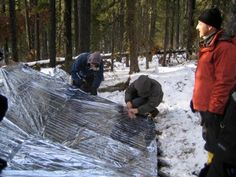 More Kochanski Super Shelter! Arguably the most brilliant primitive survival shelter design for cold weather! Reflects heat from fire down onto resident and traps warmth behind plastic sheeting like a greenhouse! -20 F outside but 70 F inside!! Amazing!